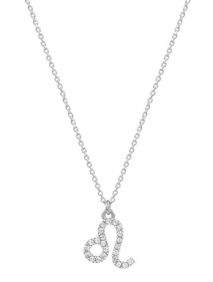 Leo Zodiac Sign E51209W-5 Platinum Sterling Silver Necklace - Goldy Jewelry Store