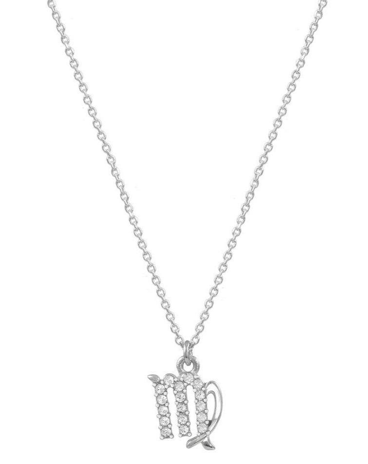 Virgo Zodiac Sign E51209W-6 Platinum Sterling Silver Necklace - Goldy Jewelry Store