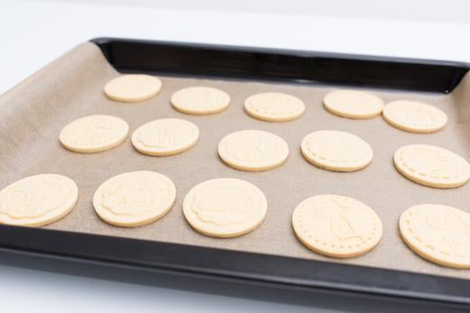 Sugar cookies on baking tray