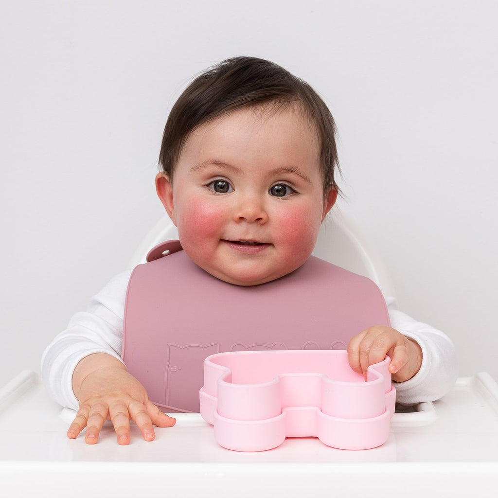 We Might Be Tiny silicone bib - Dusty rose