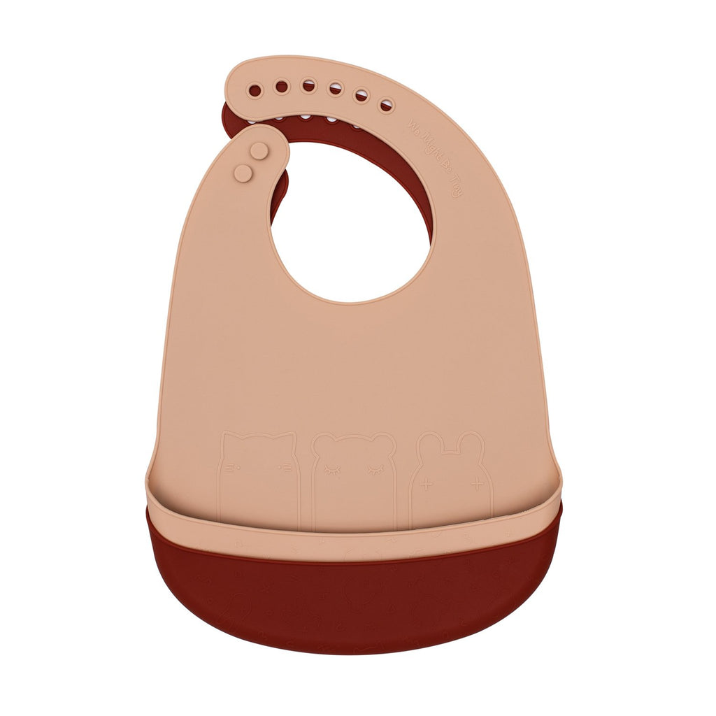 We Might Be Tiny silicone bib with food catcher - Rust and Beige