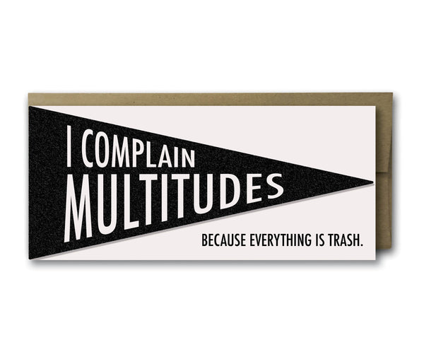 I Complain Multitudes pennant,  Greeting Card, handmade, american made - The Matt Butler