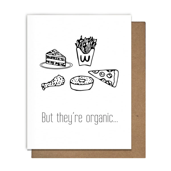 Organic Junk Food Greeting Card,  Greeting Card, handmade, american made - The Matt Butler