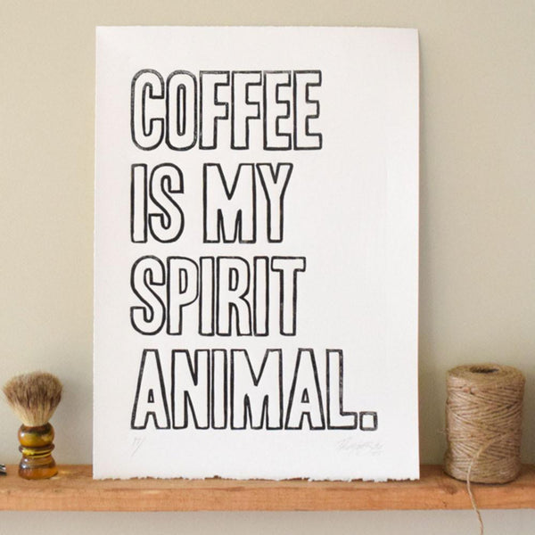 Coffee Spirit Animal Linocut Print,  Prints, handmade, american made - The Matt Butler
