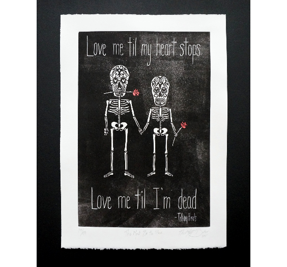 Sugar Skull Love Print,  Prints, handmade, american made - The Matt Butler