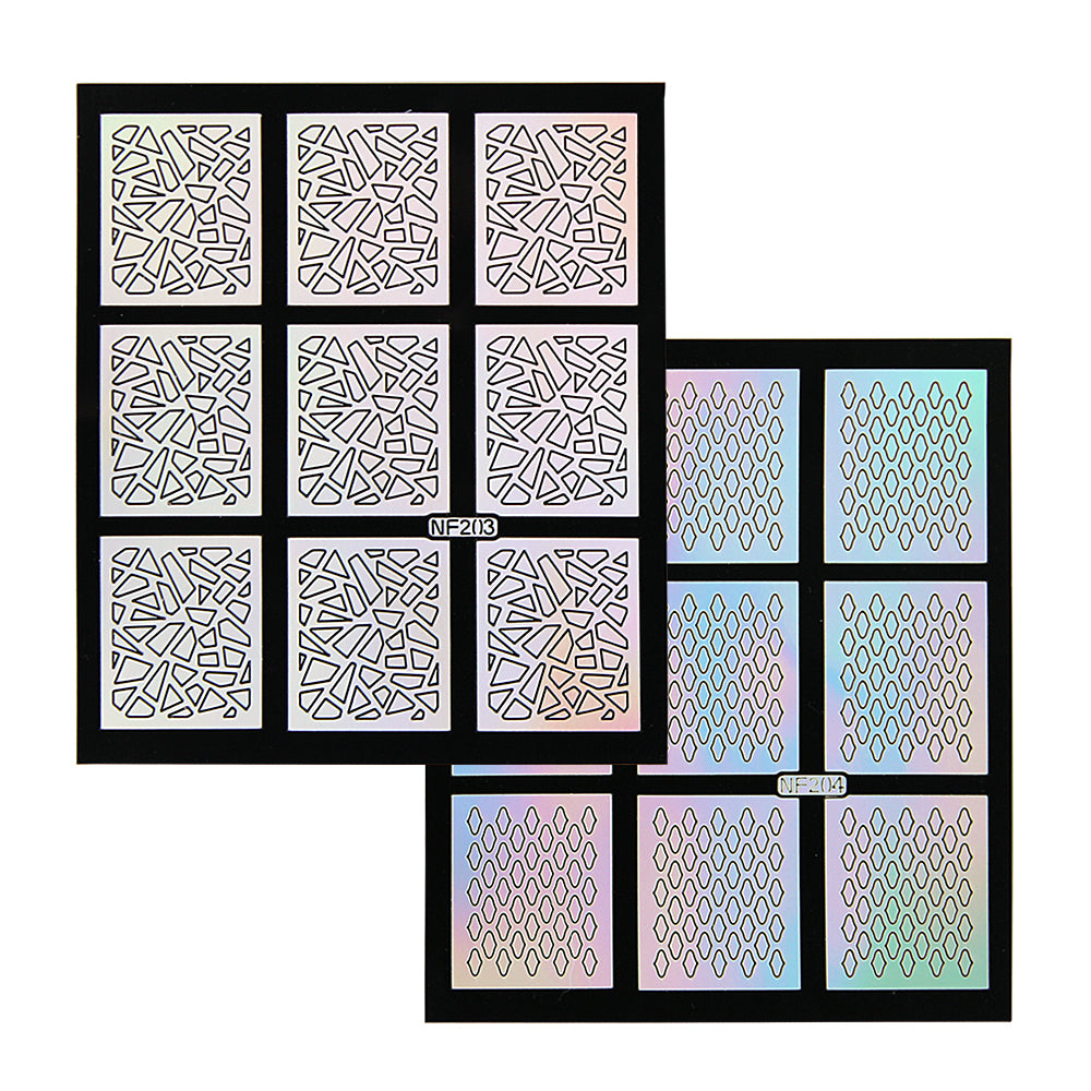 Nail Art Stencil Guides - Shattered Glass, Net