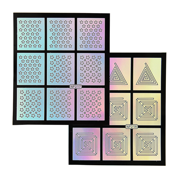 Nail Art Stencil Guides - Stars, Triangles, Squares