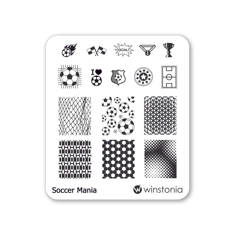 Nail Art Stamping Plate - Soccer Mania