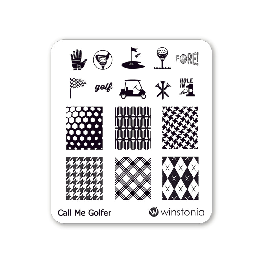 Nail Art Stamping Plate - Call Me Golfer