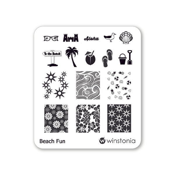 Nail Art Stamping Plate - Beach Fun