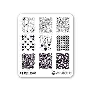 Nail Art Stamping Plate - All My Heart