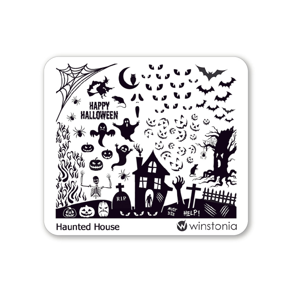 Nail Art Stamping Plate - Haunted House