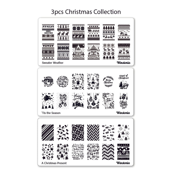 Nail Art Stamping Plates 3Pcs Set | Christmas Collection III