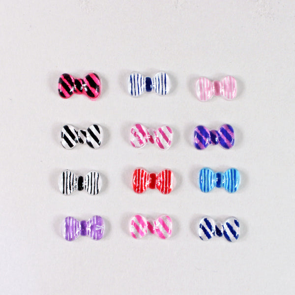Nail Art Resin Striped Bow 3D Charms