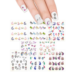 Nail Art Decals 8 Sheets Set - Unicorn