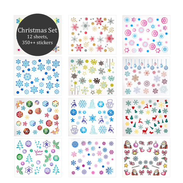 Nail Art Decals 12 Sheets Set - Christmas