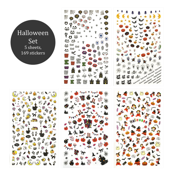 Nail Art Stickers 5 Sheets Set - Halloween