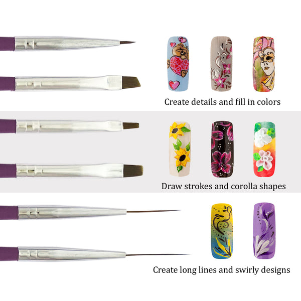 6 Pcs Assorted Nail Art Brushes Set | PLUM BLOSSOM