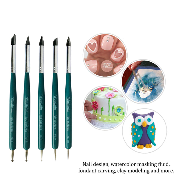 5 Pcs Nail Art Silicone & Dotting Tools Set