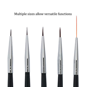 5 Pcs Nail Art Detailer and Striping Brushes Set | FINE LINE