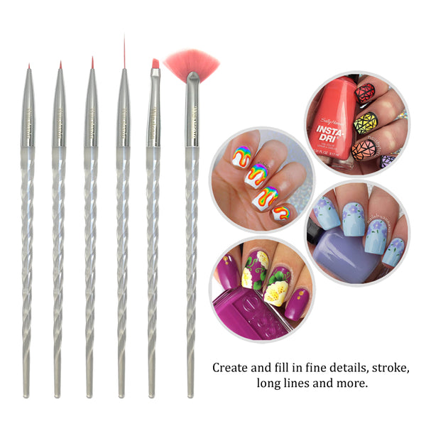 6 Pcs Unicorn Handle Nail Art Brushes Set | UNICORN MAGIC