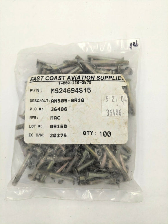 Aircraft Hardware MS24694S15  Bag of 100
