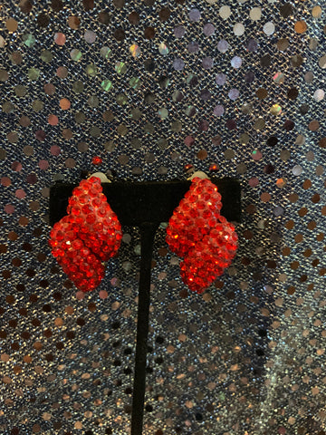 Red Clip On Earrings with Rhinestones