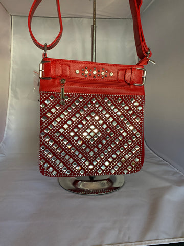 Red Crossbody Handbag with Rhinestones