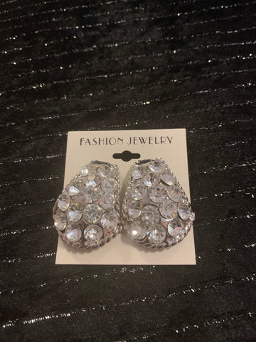 Rhinestone gold  Clip On Earrings