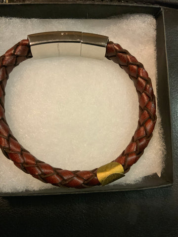 Men's Genuine Leather Bracelet Brown