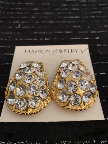 Gold Clip on Earrings With Bling