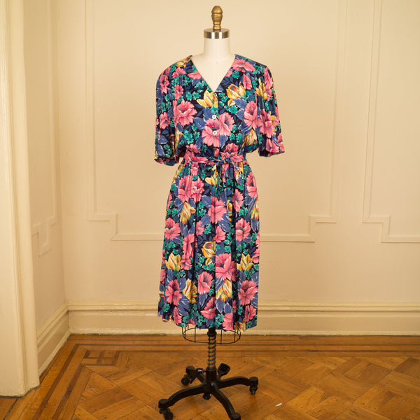 Belted Large Floral Dress