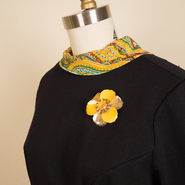 Yellow Paisley Printed Maxi with Brooch