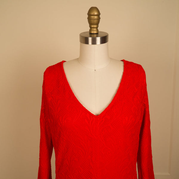 Flare Sleeve Red Lace Mini