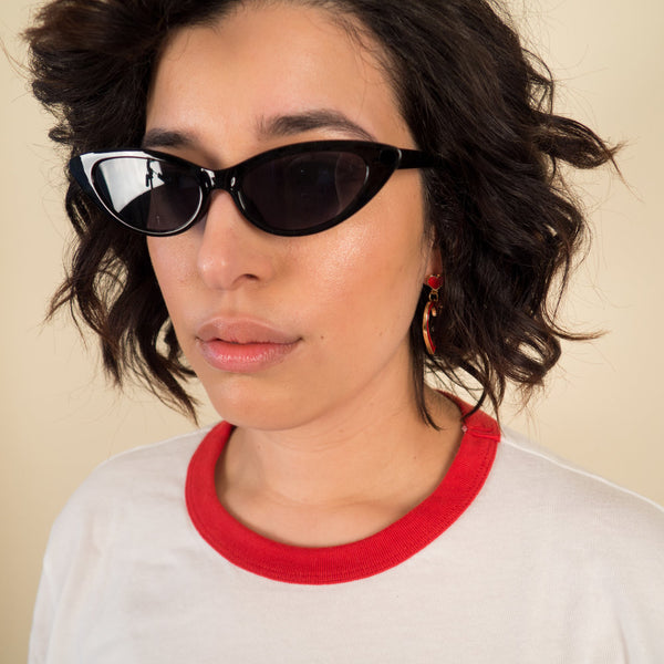 Black Tiny Cat Eye Sunglasses