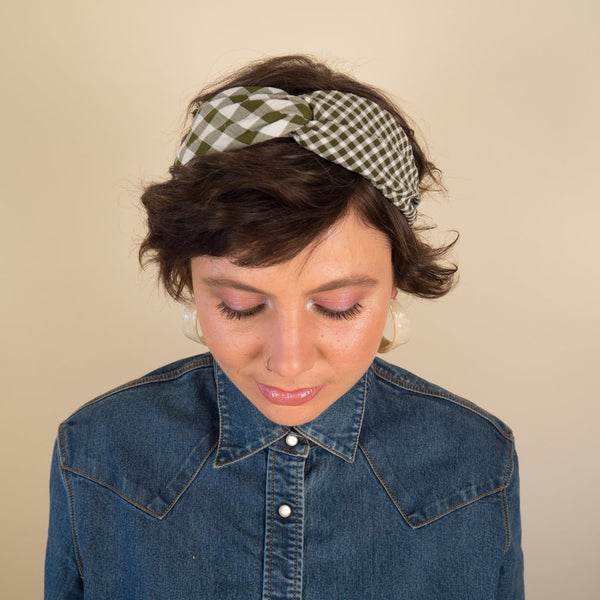 Green Gingham and Plaid Head Band