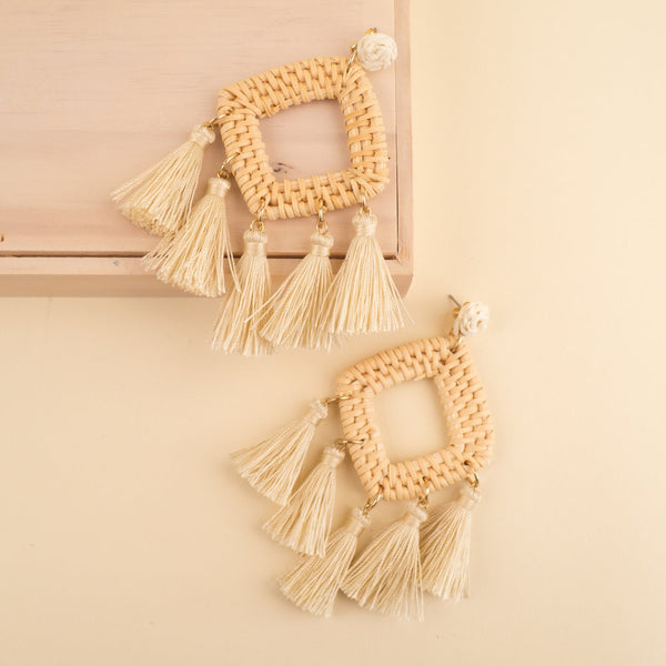 Wicker Tassel Earrings