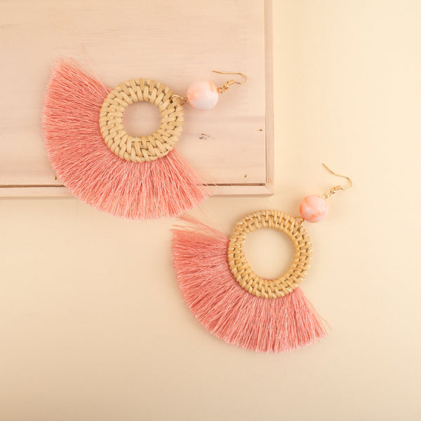 Wicker Colorful Tassel Earrings