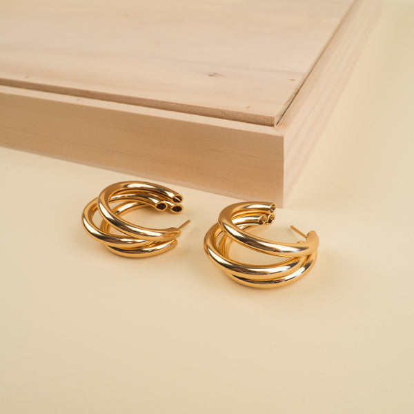 Triple Faux Gold Hoop