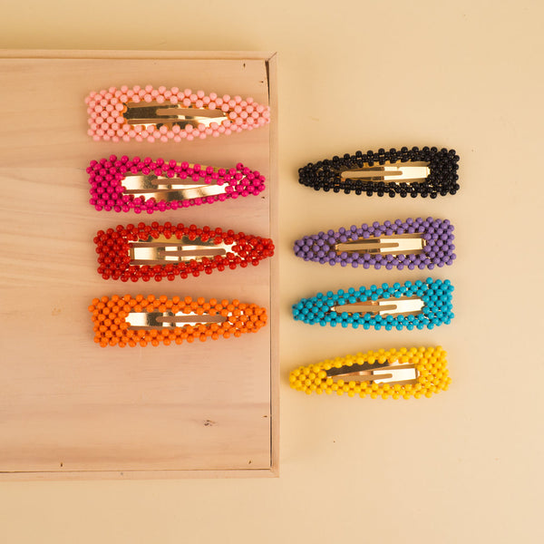 Large Beaded Hair Barrettes