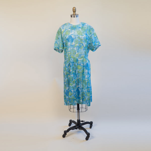 1950's Watercolor Floral Pleated Dress