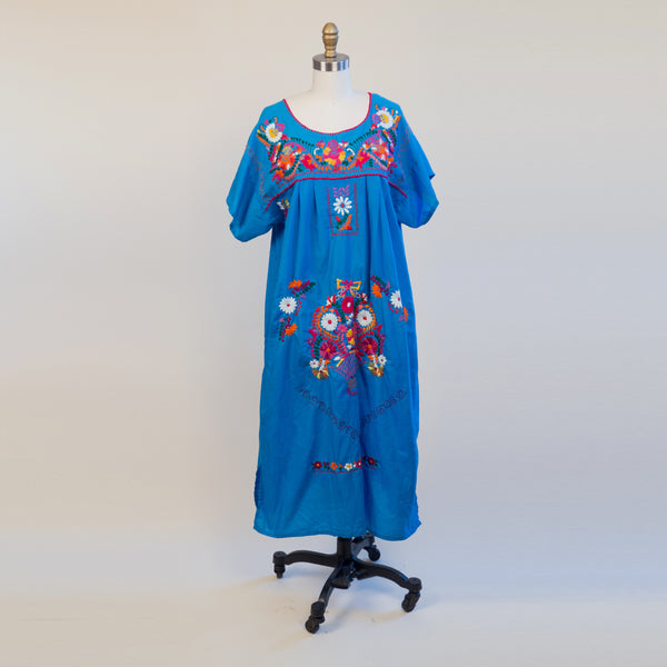 1970s Bright Blue Hand Embroidered Mexican Style Floral Hippie Folk Dress