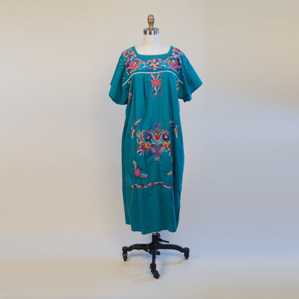 1970s Teal Hand Embroidered Mexican Style Floral Hippie Folk Dress