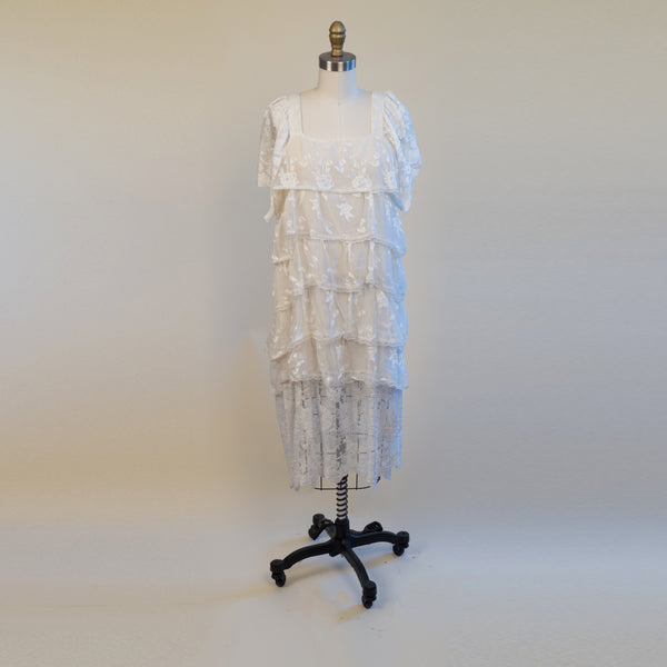 Vintage White Lace Tiered Dress