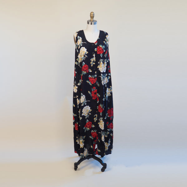 1990's Black and Red Floral Column Dress