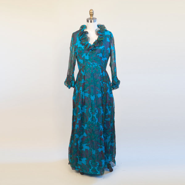 Stunning Bright Blue Ruffle Collar Maxi Dress