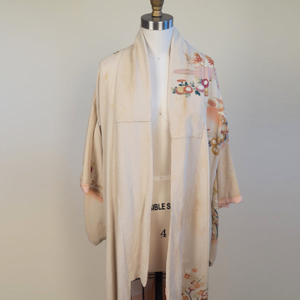 Authentic Kimono in Cream with Floral and Glitter Details
