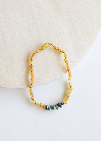 Canyonleaf Children's Raw Amber + Raw Turquoise Jasper Necklace