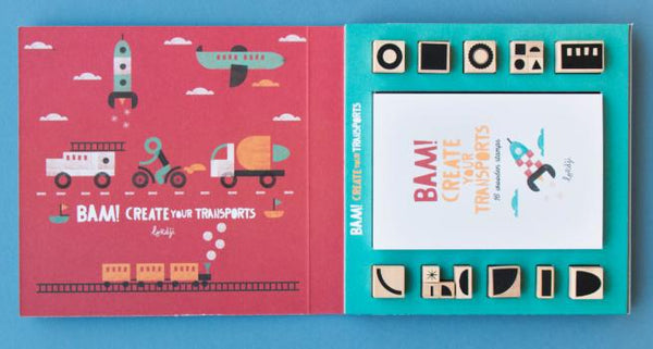 Bam! Transports! - 16 Wooden Stamps