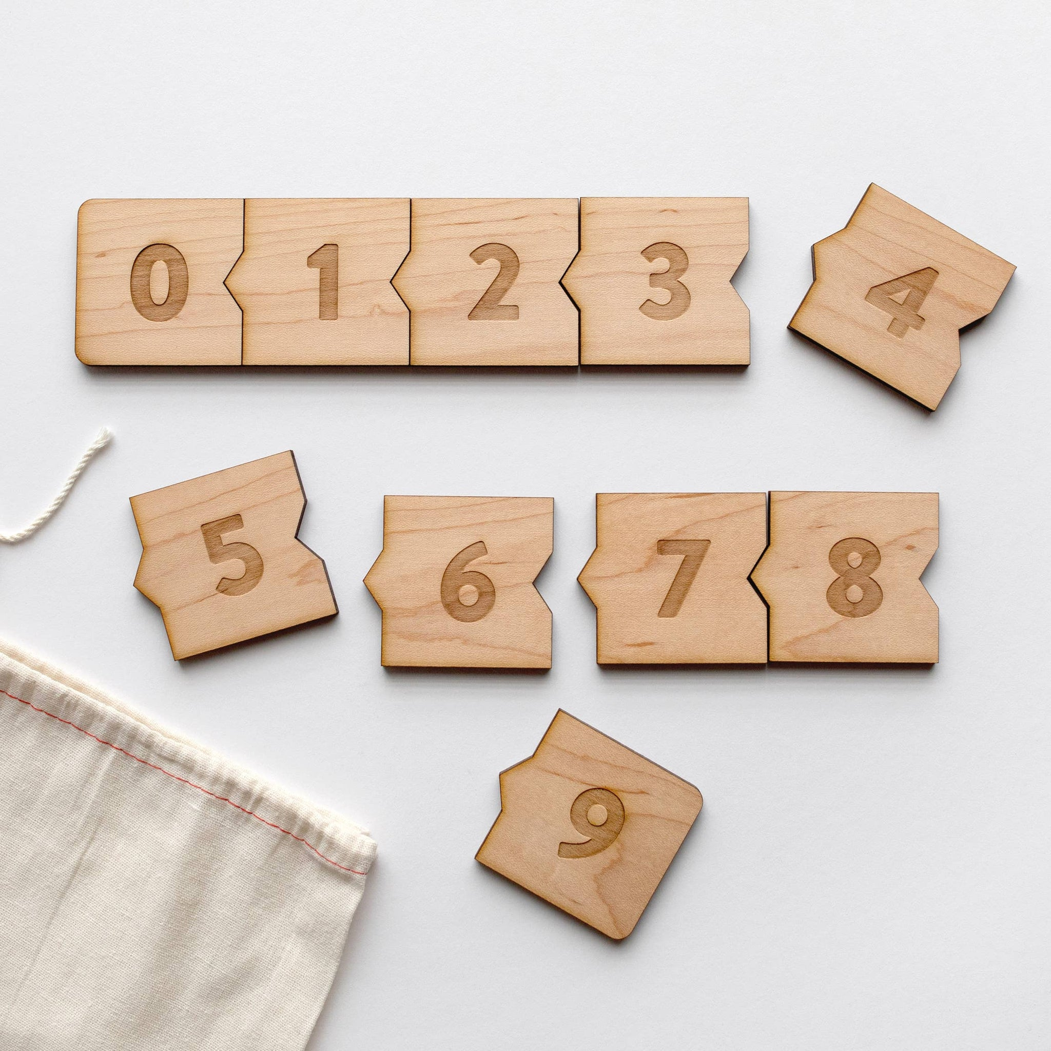 Wooden Number Puzzle • Modern Numeral & Counting Activity